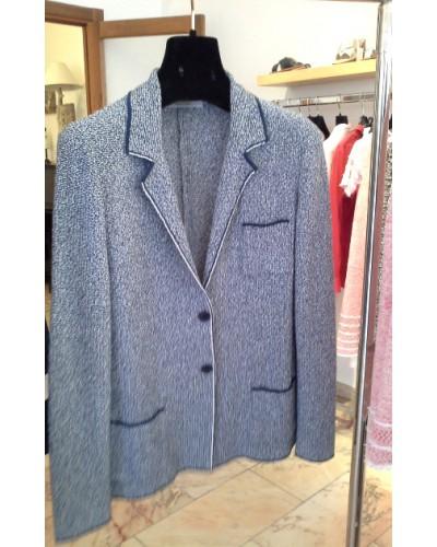 AMINA RUBINACCI Giacca maglia melange blu