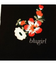 BLUMARINE  Sciarpa lana nera con ricamo