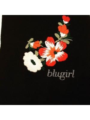 BLUMERINE  Sciarpa lana nera con ricamo