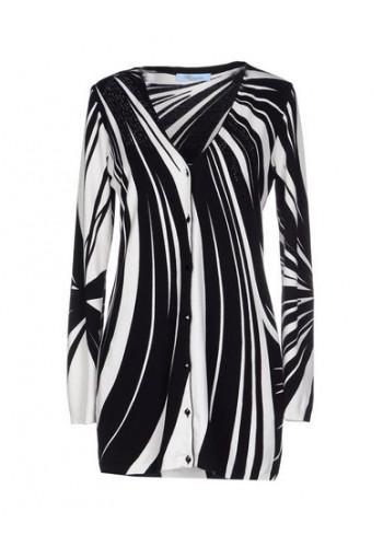 BLUMARINE Cardigan lungo bianco e nero