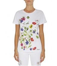 Blumarine Maglia bianca cotone fiori