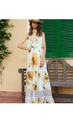 BLUGIRL di Blumarine  Abito lungo fiori giallo