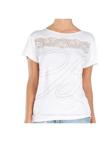 BLUMARINE   t-shirt bianca ricamata