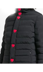 Moschino Piumino nero cuori rossi